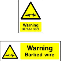 Warning Barbed wire safety sign