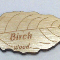Engraved Wooden Leaf on Birch Veneer