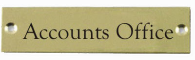 Engraved Brass Accounts Office Door Sign