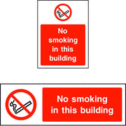 No smoking in this building safety sign
