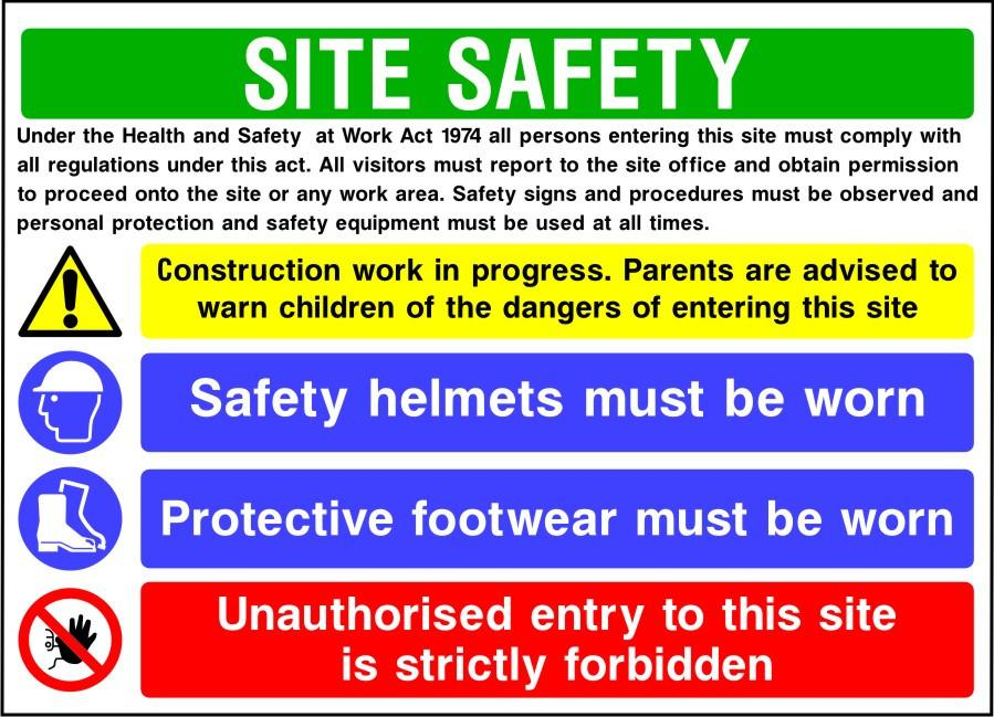 Site safety ppe multi message sign