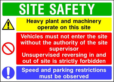 Site safety heavy plant and vehicle multi message sign