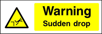 Warning Sudden drop safety sign