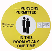 Coronavirus ___ Persons permitted in this room at any one time sign