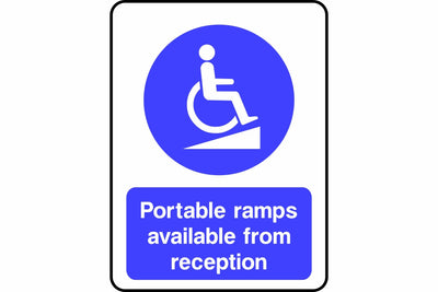 Portable access ramps available from reception sign