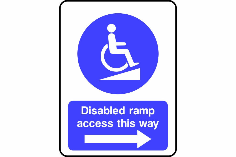 Disabled ramp access this way (arrow right) sign