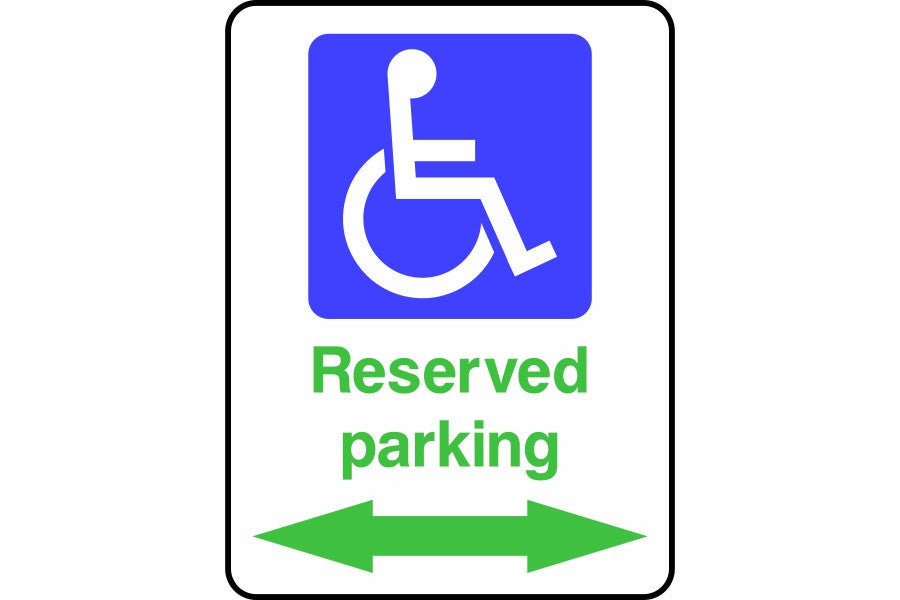 Reserved disabled parking in both directions sign