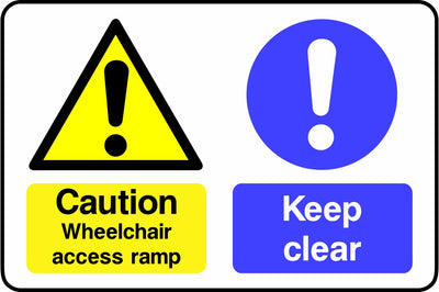 Caution Wheelchair access ramp Keep Clear sign