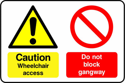 Caution Wheelchair access ramp Do not block gangway sign