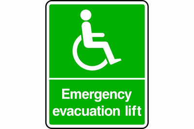 Disabled emergency evacuation lift sign