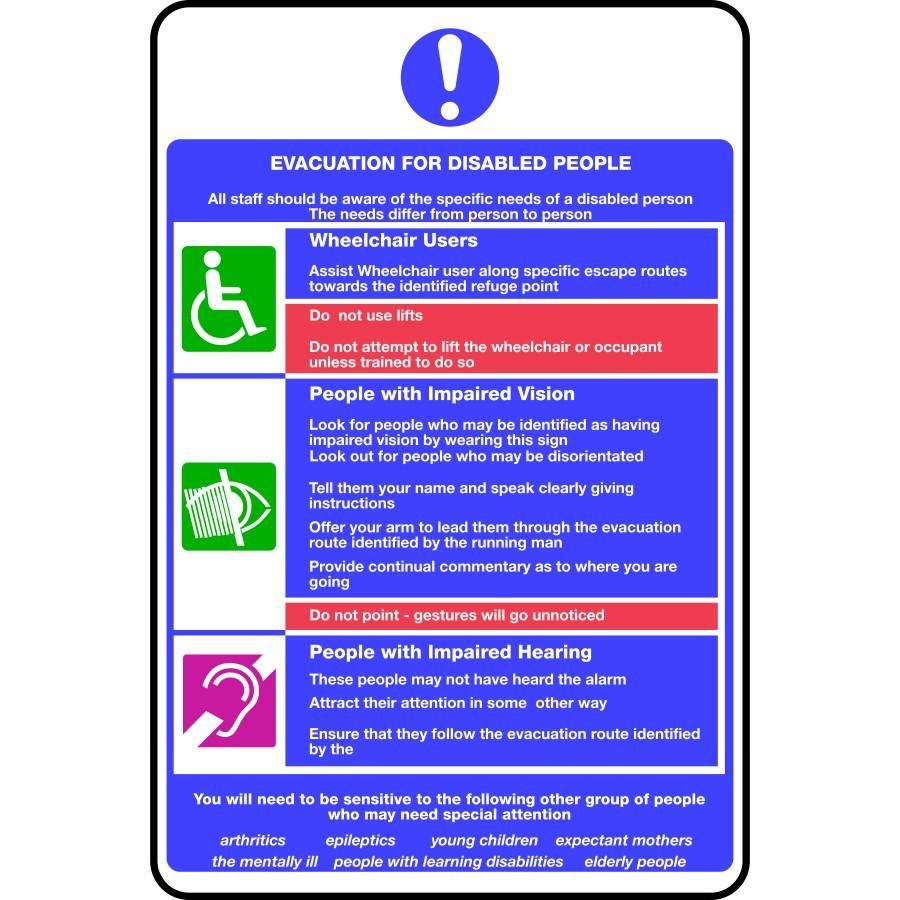 Evacuation for disabled people fire notice sign