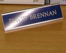 Free Standing Desk sign with Acrylic Laminate Nameplate