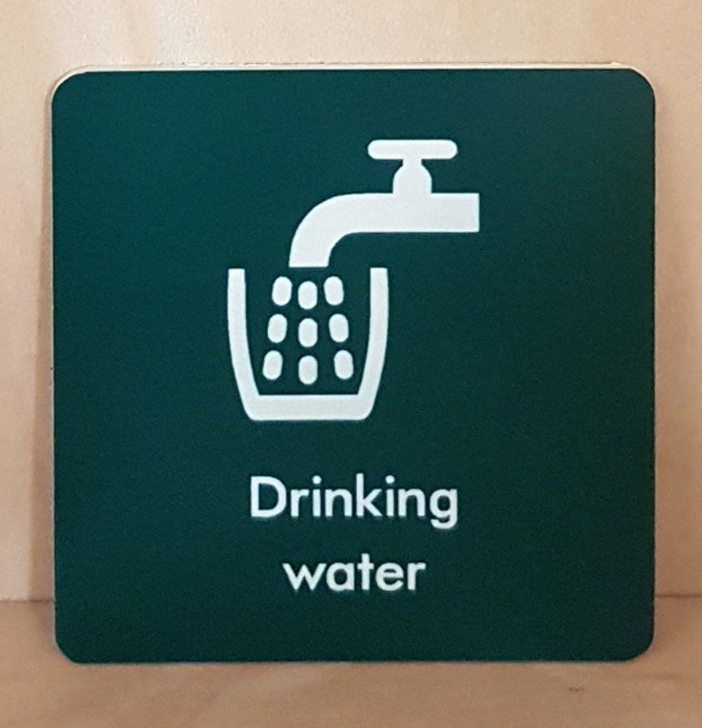 Engraved drinking water sign