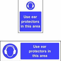 Use ear protectors in this area safety sign