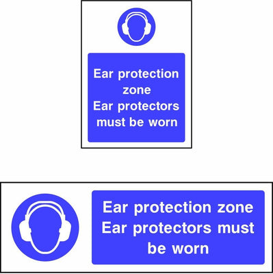 Ear protection zone Ear protectors must be worn safety sign
