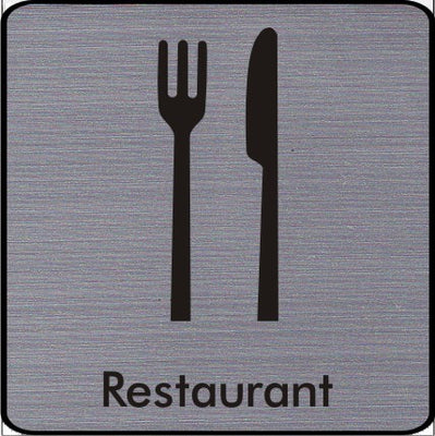 Engraved Restaurant Symbol Sign