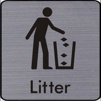 Engraved Litter Symbol Information Sign