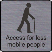 Engraved Access for less mobile people symbol sign