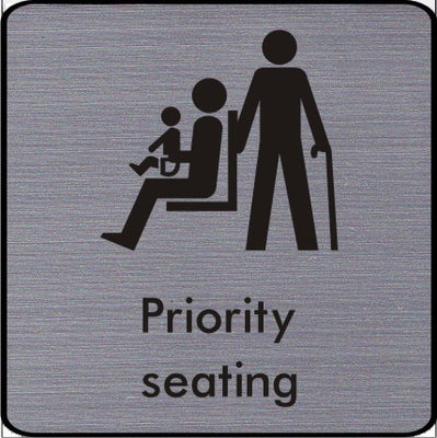 Engraved Priority Seating symbol sign