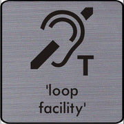 Engraved T Loop Hearing facility symbol sign