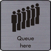 Engraved Queue here symbol sign