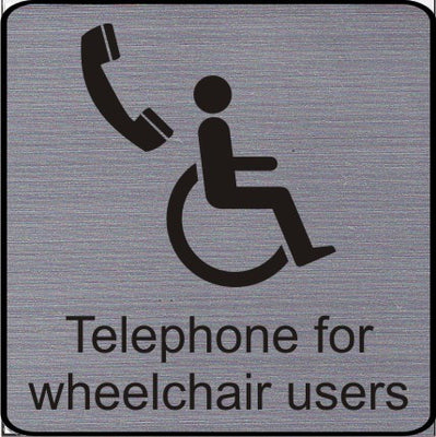 Engraved Telephone for wheelchair users symbol sign