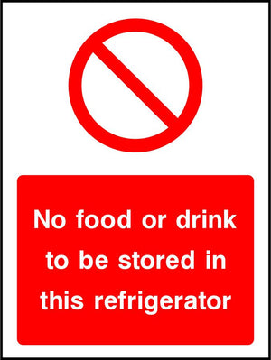 No food or drink to be stored in this refrigerator sign