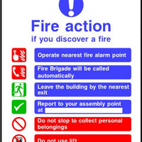 Fire brigade called automatically Do not use lifts Fire action sign