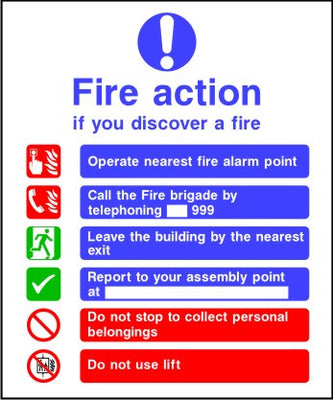 Call Fire brigade Fire action sign
