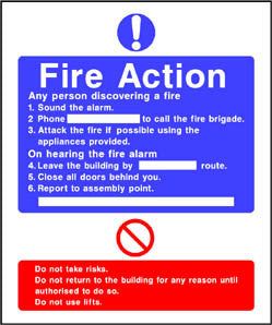 Do not use lifts Fire action sign