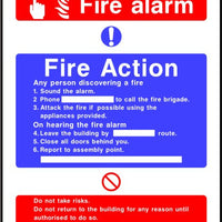 Fire Alarm fire action notice sign