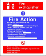 Fire Extinguisher fire action notice sign