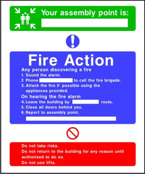 Assembly point fire action notice sign