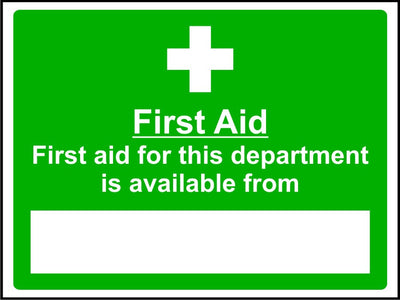 Departmental first aid availability safety sign
