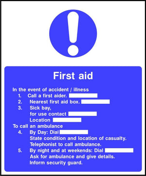 First Aid Notice safety sign