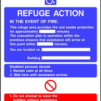 Refuge Action Fire notice sign