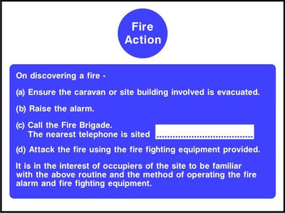 Caravan fire action notice sign