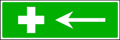 First Aid to the left safety sign