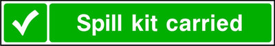 Spill kit carried safety sign