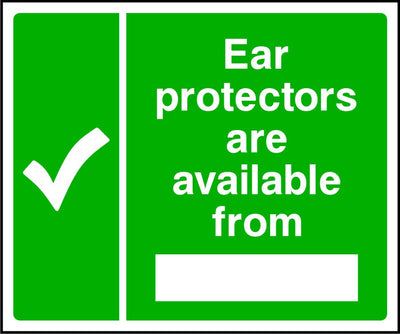 Ear protectors available from safety sign