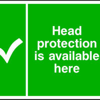 Head protection available here safety sign