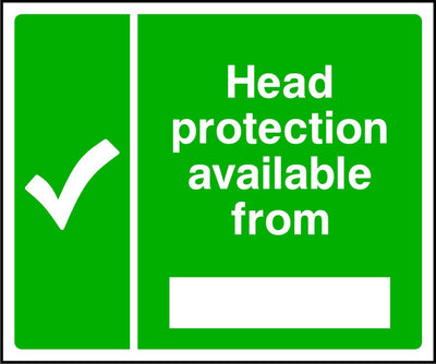 Head protection is available from safety sign