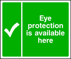 Eye protection is available here safety sign