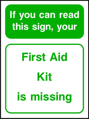 First Aid Kit is missing safety sign