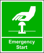 Emergency Start safety sign