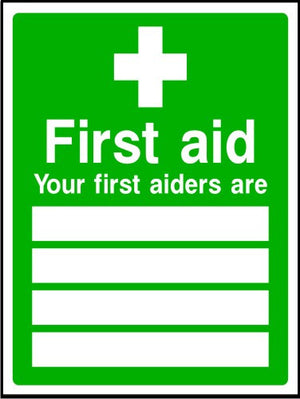 Your first aiders list sign