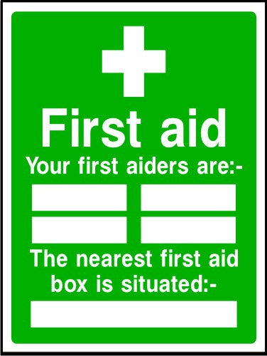 First aiders and first aid box sign