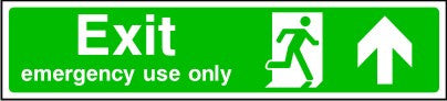 Exit Emergency Use Only Arrow Up Sign