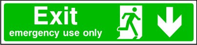 Exit Emergency Use Only Arrow Down Sign