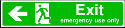 Exit Emergency Use Only Arrow Left Sign